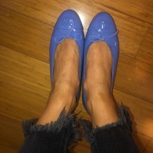 Classic CHANEL patent periwinkle ballet flats